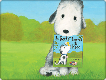 Illustration of Rocket the Dog holding a book in his mouth