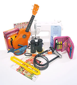 a ukulele, sewing machine, bike lock, loom kit, crochet needles, binoculars, and games