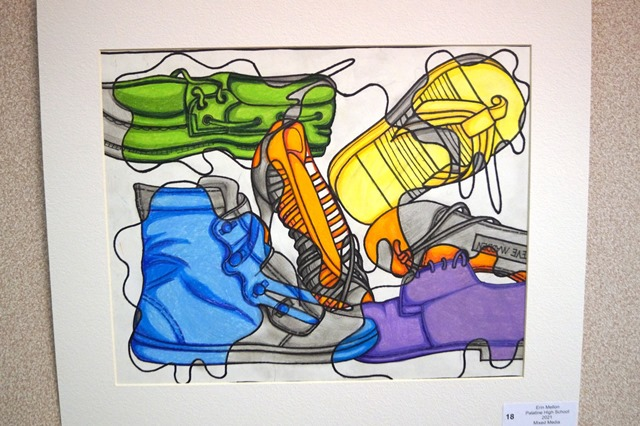 Photo of a Painting of Sneakers from a Palatine High School Art Student