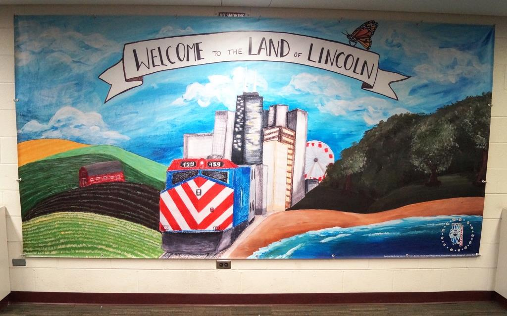 Illustration banner with the phrase welcome to the land of lincoln