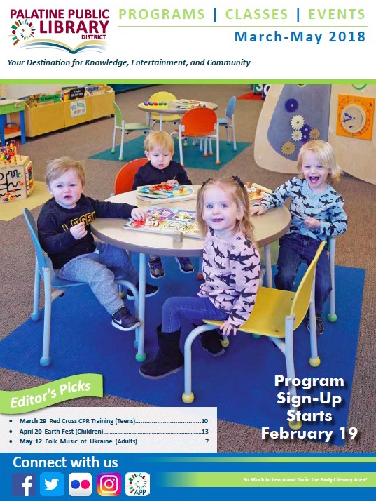 Cover of March-May 2018 Palatine Library newsletter showing children at a table