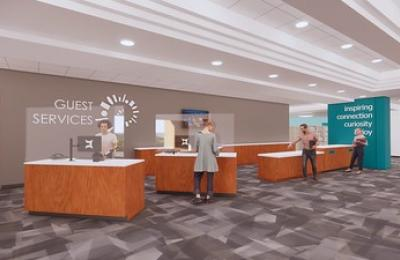 Rendering of an Updated Lobby with Self Checkout Stations