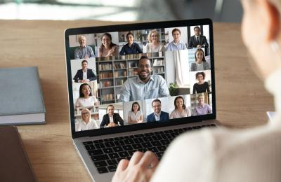 Snapshot of a video meeting on a laptop computer