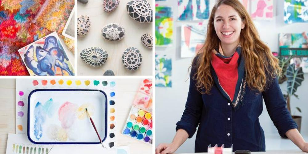 Examples of art projects like watercolors, stitching, and knitting