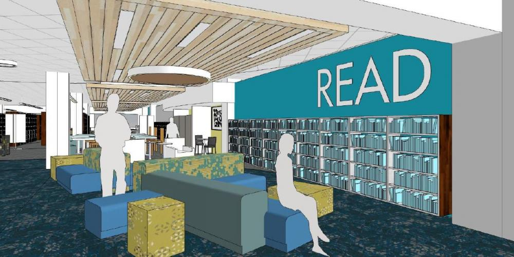 Architectural rendering of a marketplace in the Library