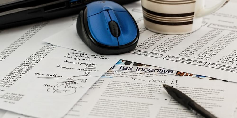 Desk with Tax Forms