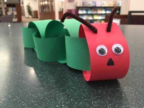 red and green paper chain caterpillar