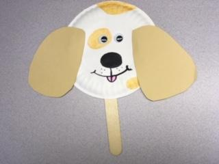 paper plate dog face stick puppet