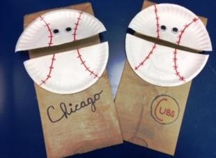 paper bag puppet with paper baseball head
