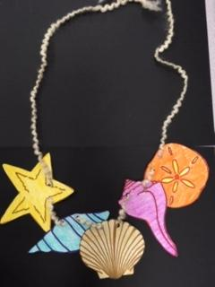 paper seashell necklace colored various colors