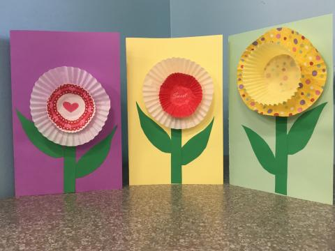 three greeting cards with paper muffin cup flowers